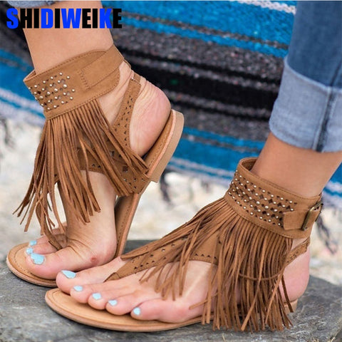 Women Sandals Fashion Tassel Summer Shoes Women 2019 New Flat Sandals Female Flip Flops Plus Size 34-43 Casual Sandale Femme - shoescraze
