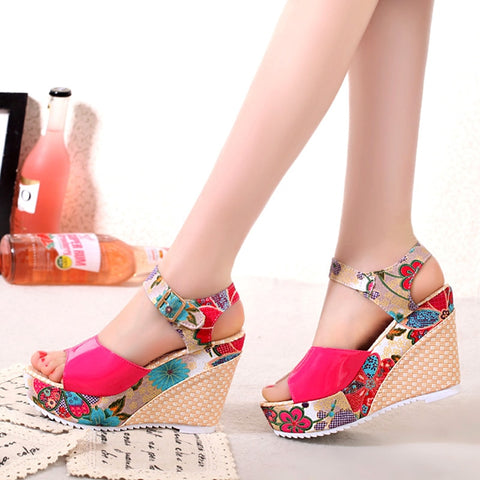 Women Sandals Summer Platform Wedges Casual Shoes Woman Floral Super High Heels Open Toe Slides Slippers Sandalias Zapatos Mujer - shoescraze