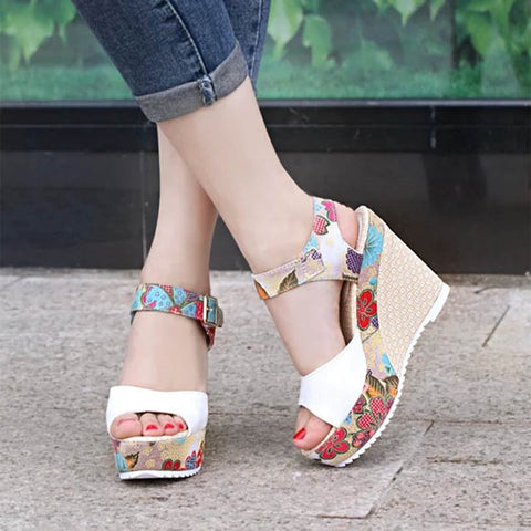 Women Sexy High Heels Sandals 2019 Summer Wedges Shoes Woman Print Platform Sandal Female Fashion Super High Shoes Footwear - shoescraze
