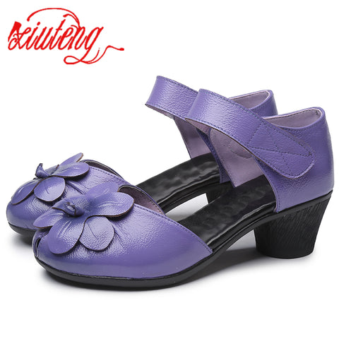 Xiuteng 2018 New Fashion Summer Female Handmade Sandals Flowers Women's Leather Shoes Casual Thick With Women Sandals Back Strap - shoescraze
