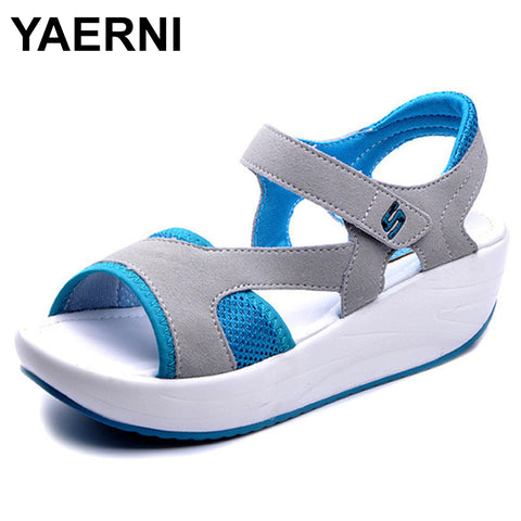 YAERNI  Women's Sandals Casual Mesh Breathable Shoes Women Ladies Wedges Sandals 2018 Fashion Summer Platform Sandalias Size 40 - shoescraze