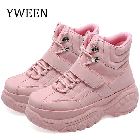 YWEEN 2019 Women Casual Shoes Breathable Female Fashion Sneakers Women Lace Up Increasing Girls Shoes Chaussures Femme Trainers - shoescraze