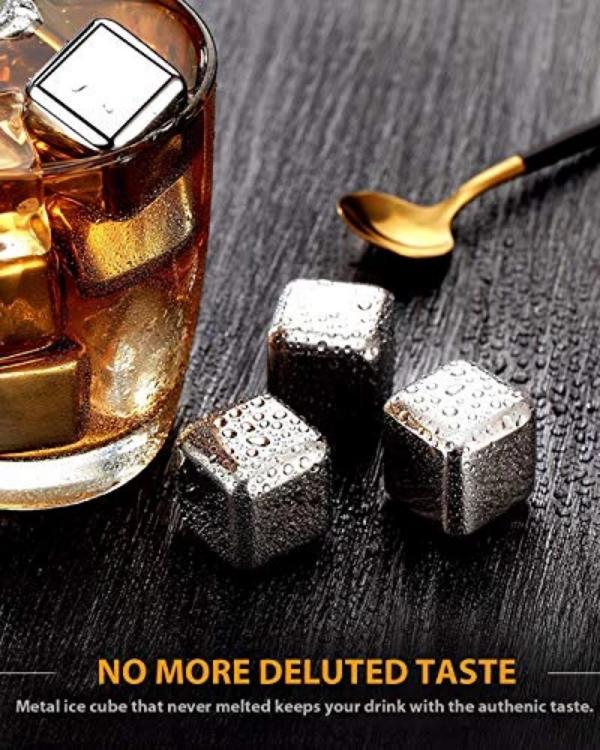 Square Quick Frozen Ice Whiskey Ice Wine Wine Cooling Stone 304 Stainless Steel Ice Cube Cross Border Freight