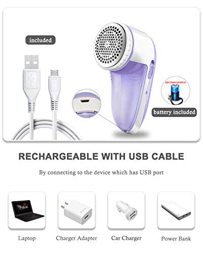 Electric Lint Remover, Rechargeable Sweater Shaver with Replaceable Stainless Steel 3-Blades