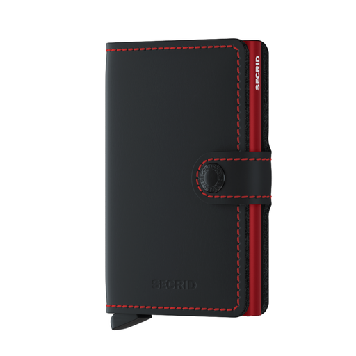 Secrid Miniwallet Matte Black & Red Housing of Aluminium / construction of stainless steel and POM Total RFID Protection for your Credit Cards Cool Flip up Patented Mechanism So Easy To use