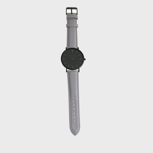 Complete your look every day with this timeless piece, Mr Beaumont Mens Watch - Matte Grey is a classic men watch that consists of a metallic black case, a striking carbonised dial - all complemented by a genuine nappa leather strap, in light grey