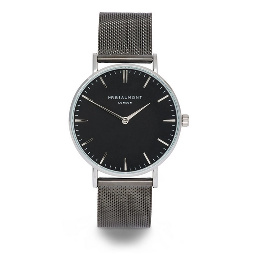 Personalised Mr Beaumont gun metal watch with black face Band Material: Gun metal stainless steel mesh+ fold-over clasp Includes trademark Mr Beaumont pouch & gift box