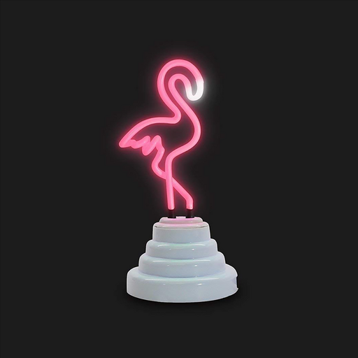 Iconic Neon Glow Illuminous Flamingo Shape Bright Pink Colour Retro Design