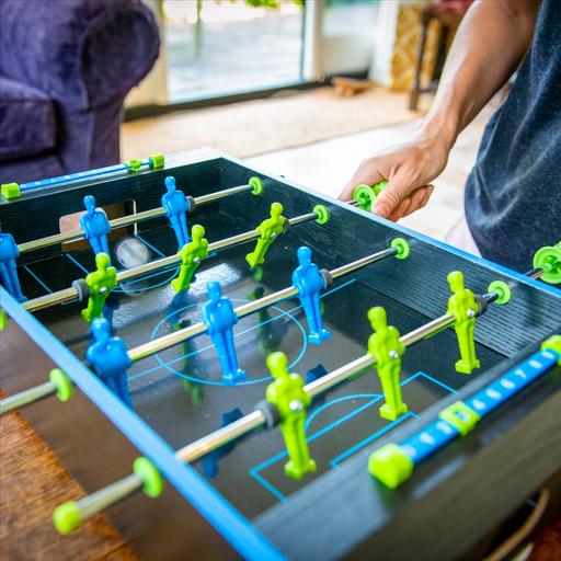 Classic table football featuring 4 aluminium rods and neon handles for smooth fast gameplay