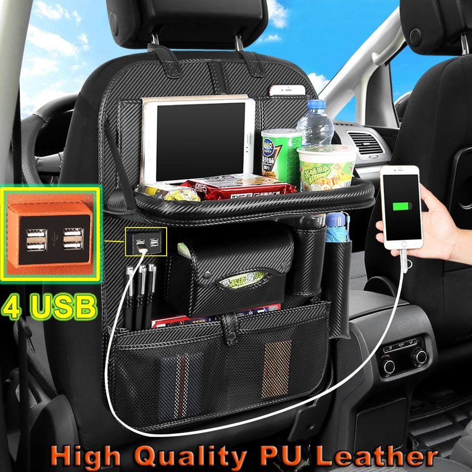 High Quality Pu Leather Car Seat Back Organizer