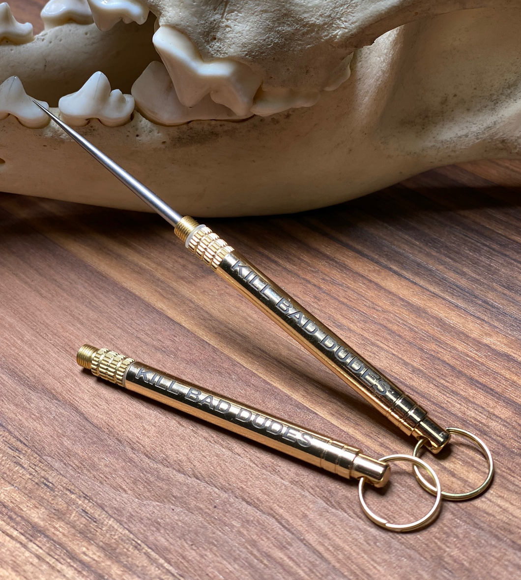 Ultimate toothpick, BRASS, BLACK AND SILVER