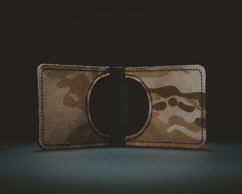 Arid multicam cordura and black leather wallet
