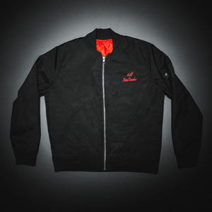 Bomber jacket, Black cordura with red satin inside,