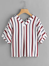 Load image into Gallery viewer, Double V Neckline Stripe Blouse