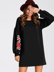 Lantern Sleeve Embroidered Rose Applique Dress