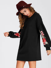 Load image into Gallery viewer, Lantern Sleeve Embroidered Rose Applique Dress