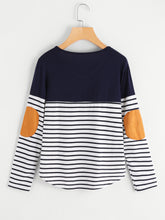 Load image into Gallery viewer, Striped Elbow Patch Curved Hem T-shirt