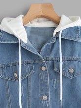 Load image into Gallery viewer, Ribbed Knit Trim Hooded Denim Jacket