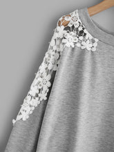 Load image into Gallery viewer, Lace Panel Beaded Sweatshirt