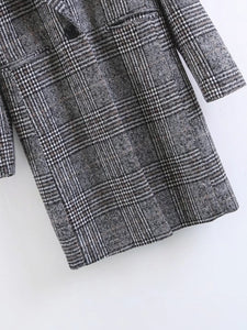 Single Button Plaid Reefer Coat