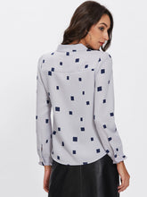 Load image into Gallery viewer, Square Print Bow Tie Neck Blouse