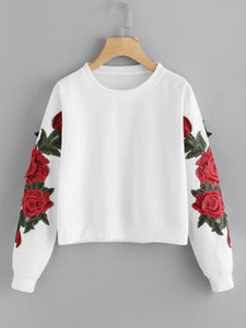 Rose Embroidered Applique Sweatshirt