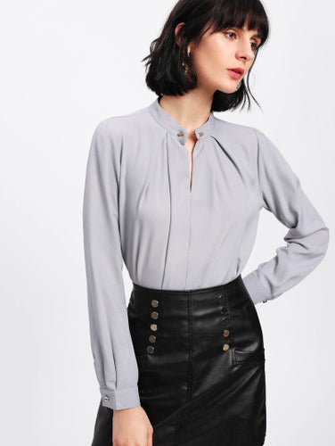 Metal Button Front Blouse