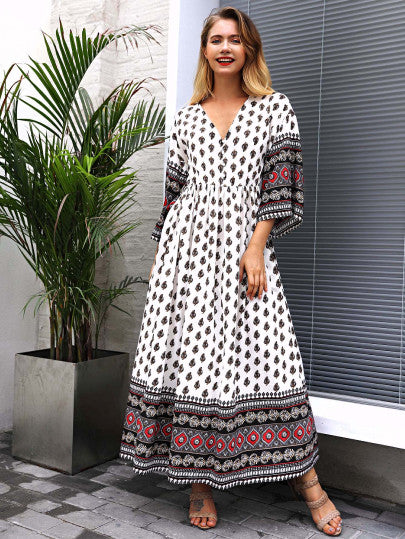 v Neckline Geo Print Dress