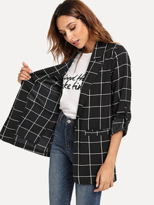 Dual Pocket Plaid Blazer