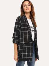 Load image into Gallery viewer, Dual Pocket Plaid Blazer