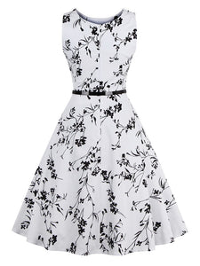All Over Florals Circle Dress With Belt