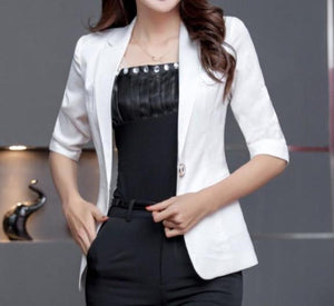 Womens Quarter Sleeve Single Button Blazer