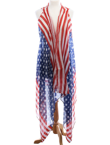 American Flag Print Sheer Coverup