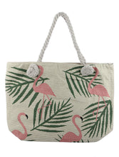 Load image into Gallery viewer, Flamingo Embroidered Fabric Tote