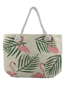 Flamingo Embroidered Fabric Tote
