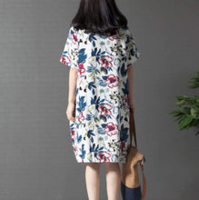 Load image into Gallery viewer, Womens Breezy Linen Floral Dress