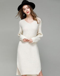 Womens V Neck One Piece Long Sweater