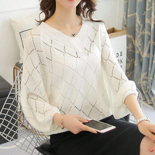 Womens Batwing V Neck Knit Top