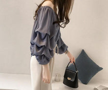 Load image into Gallery viewer, Chiffon Ruffle Sleeve Blouse