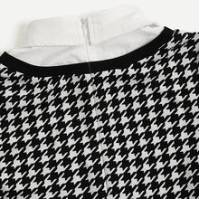 Load image into Gallery viewer, Houndstooth Contrast Curved Hem Combo Dress