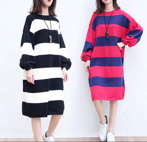 Womens Knit Dress with Stripes