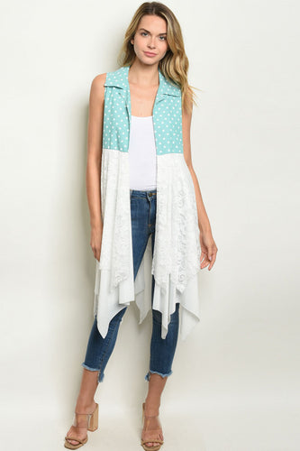 Mint Ivory with dots cardigan