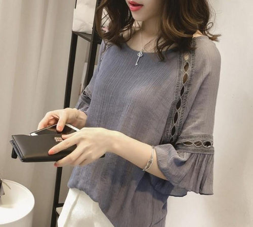 Quarter Sleeve Blouse with Cut Out Details