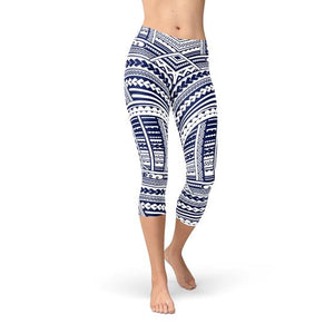 Polynesian Maori Tattoo Capri Leggings