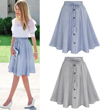 Load image into Gallery viewer, Vintage Stripe Button Skirt