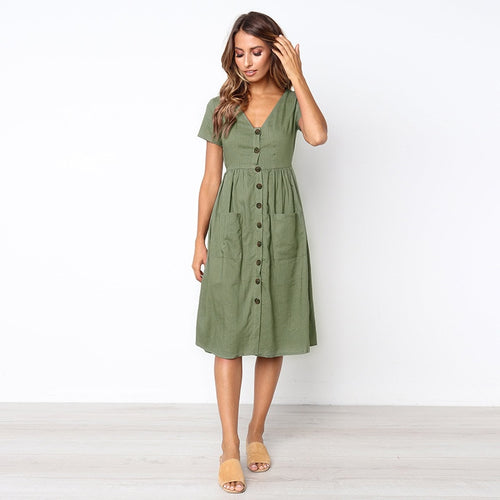 Summer Dress Casual V-neck