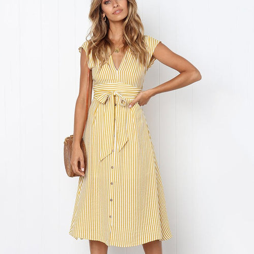 Button Striped Dresses
