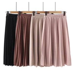 High Waist Skirt Solid Color Pleated
