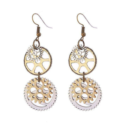 Ladies Personality Fashion Watch Pin Gear Earrings - 24/7 bestdeals