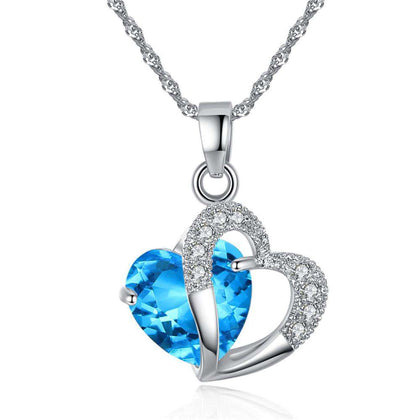 Peach Heart Drilling Pendant Water Chain Crystal Necklace - 24/7 bestdeals